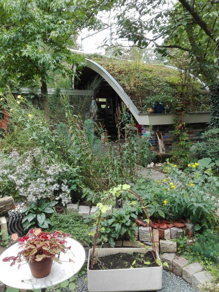 De tuin is een oase van groen