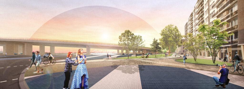 Blauwe Golven_gevisualiseerd vanaf hoek Oude Kraan_zicht op promenade en fontein