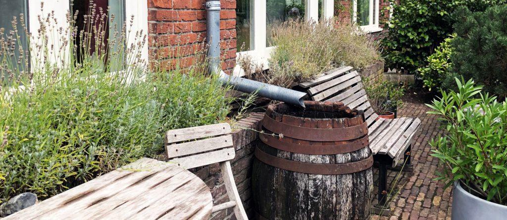 Met een regenton vang je regenwater op wat je kunt gebruiken voor je tuin of om je ramen mee te wassen